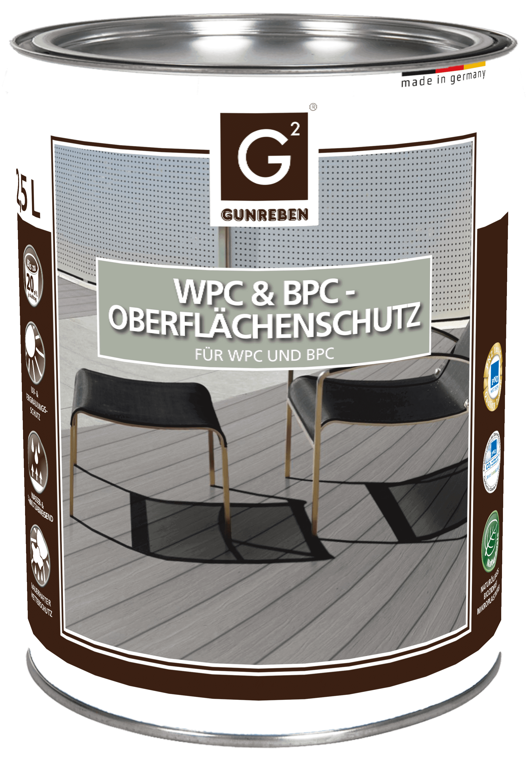 WPC Imprägnierung farblos von Gunreben, 2,5 Liter WPC Öl sind ausreichend für ca. 20-40 m²