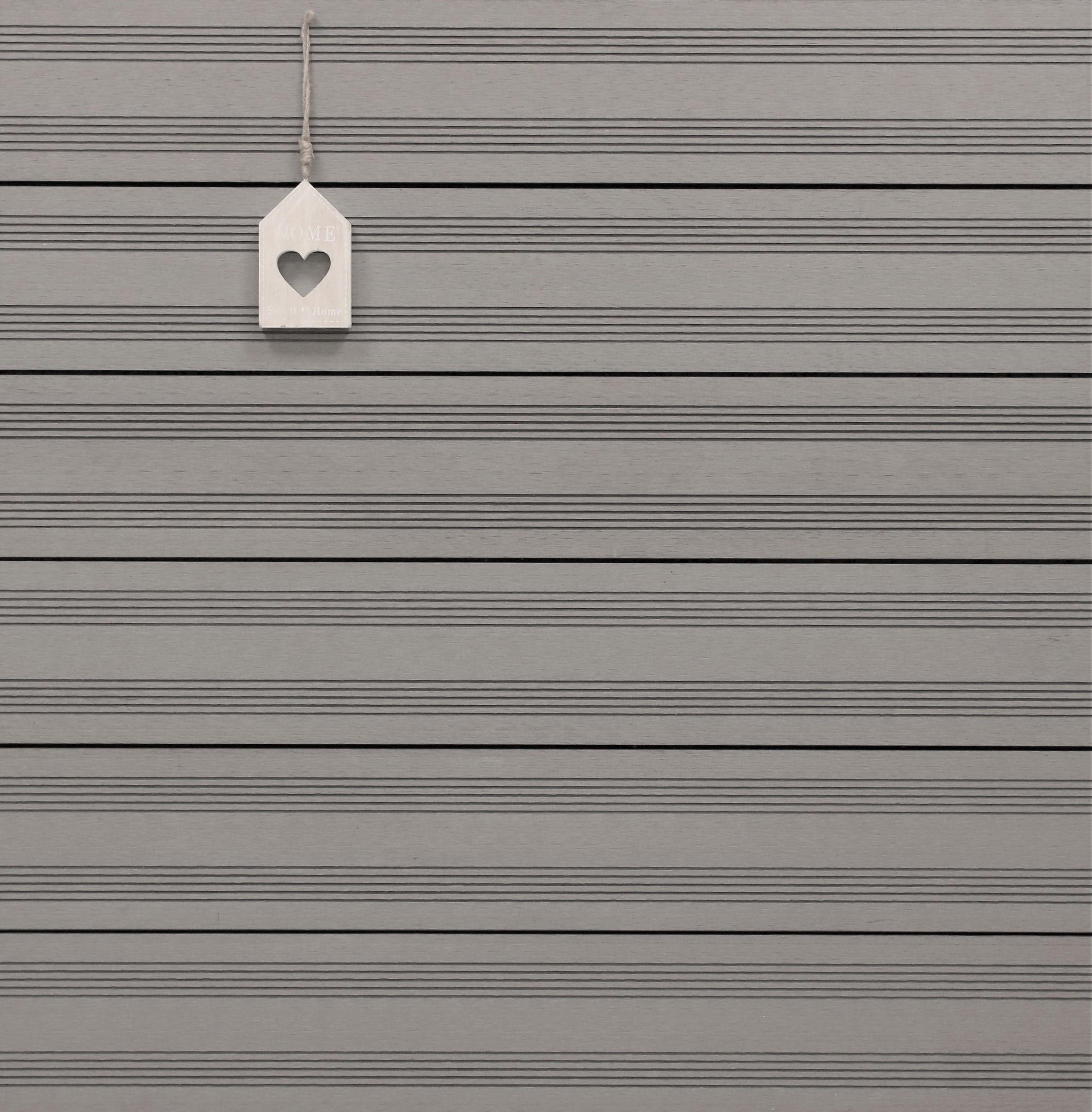 WPC Terrassendielen massiv, hellgrau, französisches Profil, 22 x 143 bis 4800 mm, Vollprofil für 9,50 €/lfm