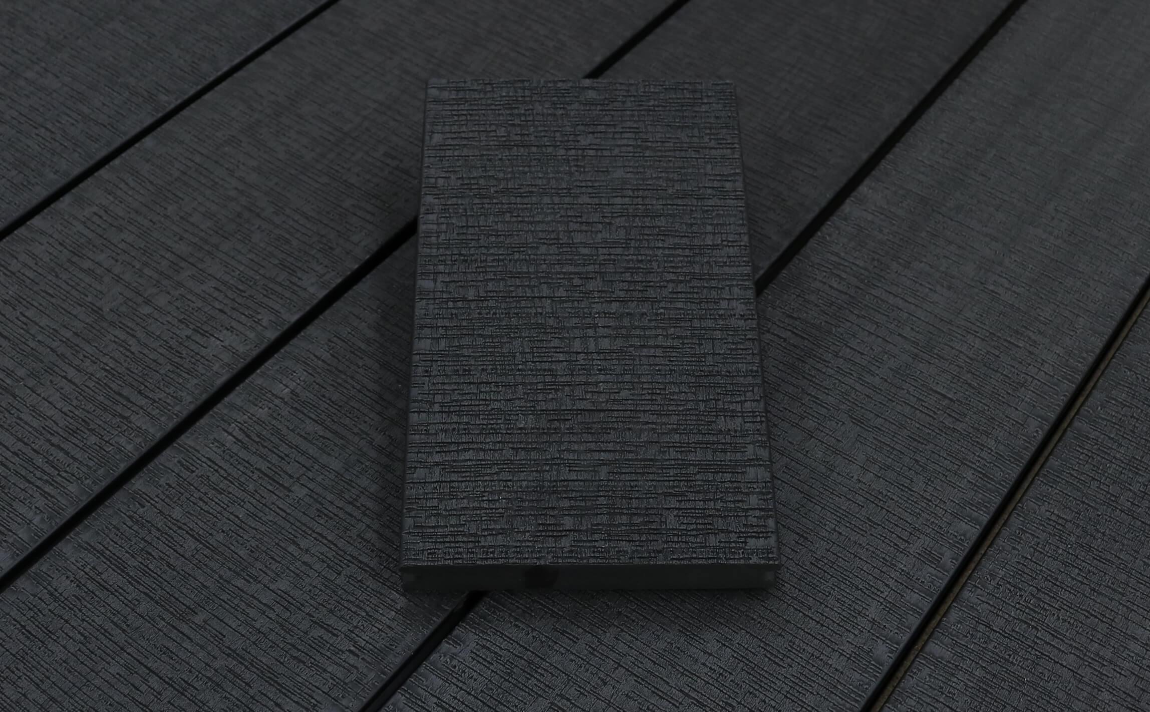WPC Terrassendielen massiv, dunkelgrau, sägerau grob, 22 x 143 bis 4800 mm, Vollprofil für 9,20 €/lfm