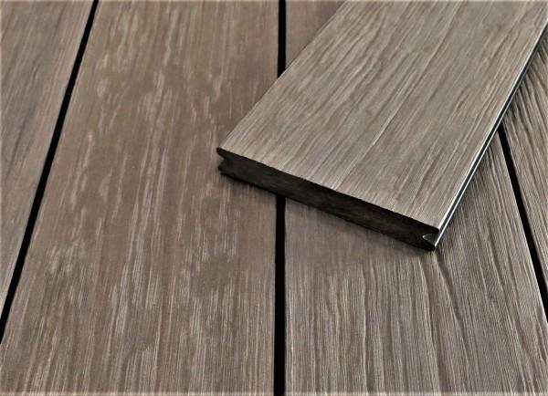 WPC Terrassendielen massiv, sand, antik gealtert, 22 x 143 bis 4800 mm, Vollprofil für 9,95 €/lfm