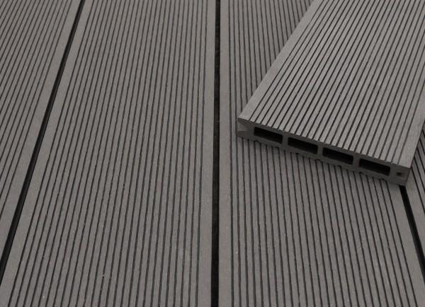 WPC Terrassendielen Hohlkammer, dunkelgrau, fein gerillt, 22 x 146 bis 4800 mm für 5,30 €/lfm