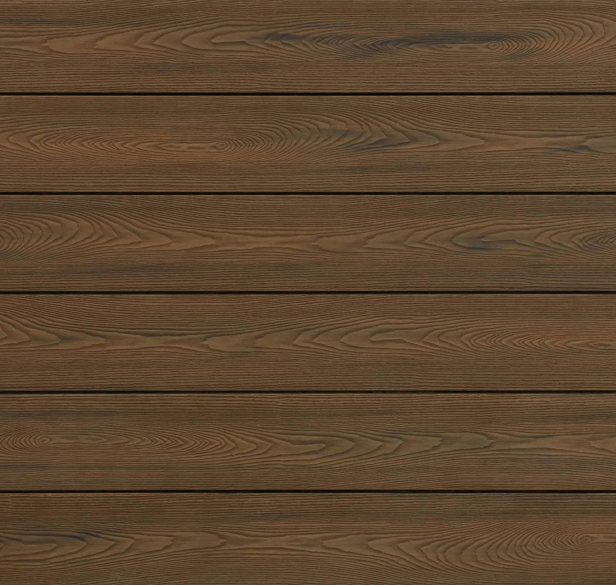 WPC Terrassendielen massiv, bicolor im Farbton Thermoeiche, Struktur in Holzoptik, 22 x 143 bis 4800 mm, Vollprofil für 10,90 €/lfm
