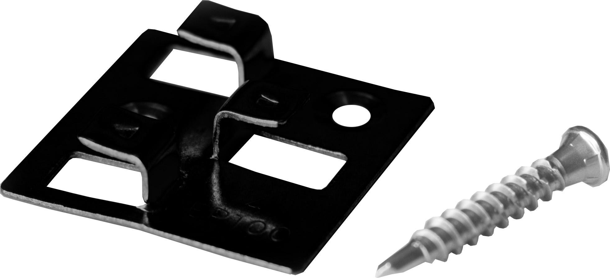 100 Stück MEFO WPC Befestigungsclips schwarz aus Edelstahl, 4 mm Fugenabstand, inklusive Schrauben, ausreichend für ca. 35 lfm bzw. 5 m²