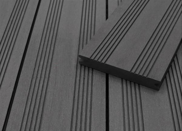 WPC Terrassendielen massiv, dunkelgrau, französisches Profil, 22 x 143 bis 4800 mm, Vollprofil für 9,50 €/lfm
