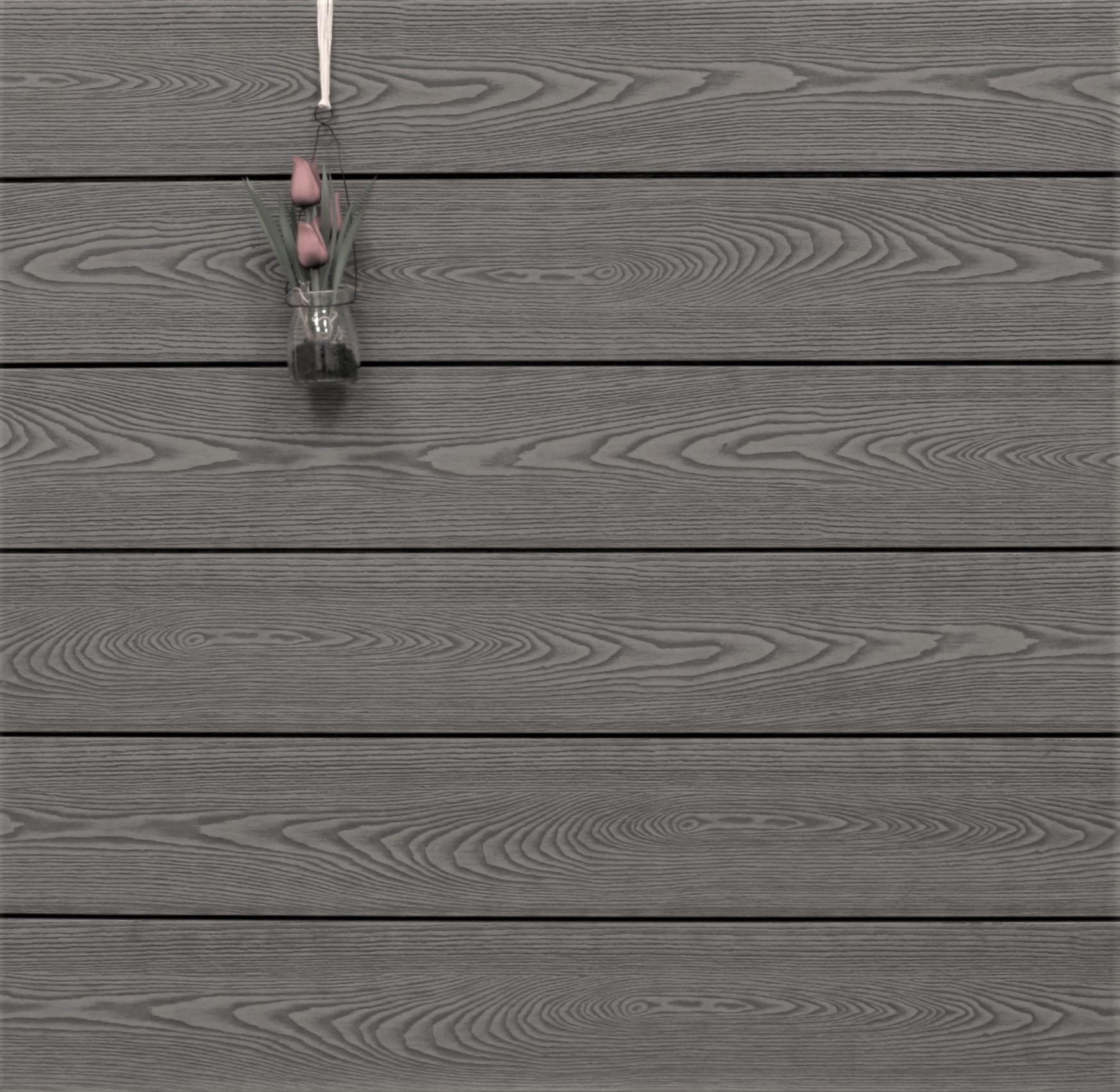 WPC Terrassendielen massiv, grau, Struktur in Holzoptik, 22 x 143 bis 4800 mm, Vollprofil für 9,90 €/lfm