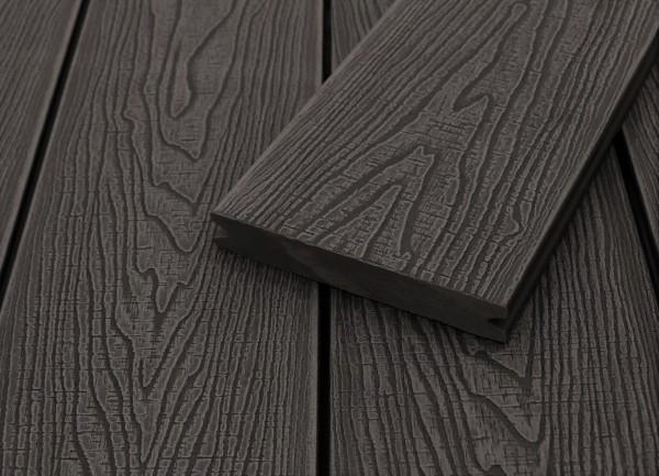 WPC Terrassendielen massiv, dunkelgrau, Struktur in Holzoptik sägerau, 22 x 143 bis 4800 mm, Vollprofil für 9,20 €/lfm