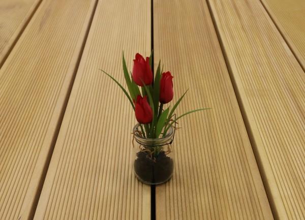 Garapa Terrassendielen, fein gerillt, 45 x 145 bis 6100 mm, Premium (KD) für 21,90 €/lfm