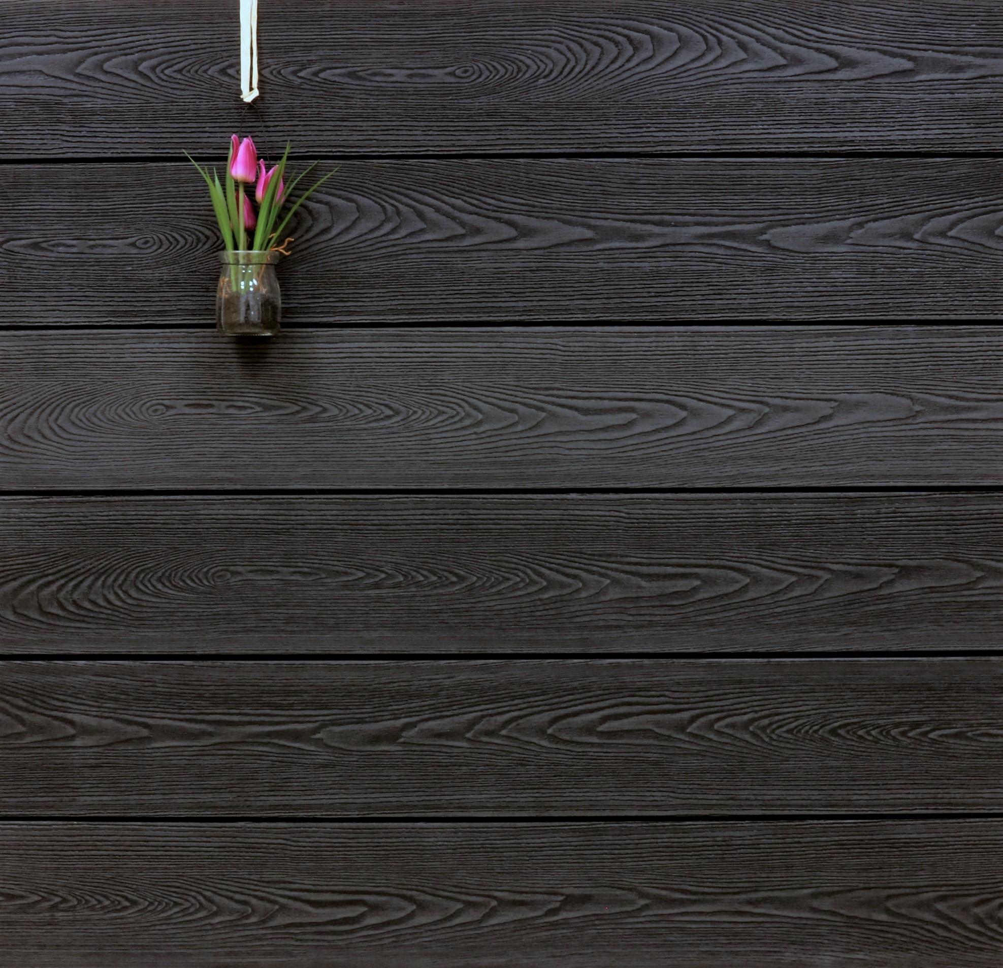 WPC Terrassendielen massiv, anthrazit, Struktur in Holzoptik, 22 x 143 bis 4800 mm, Vollprofil für 9,90 €/lfm