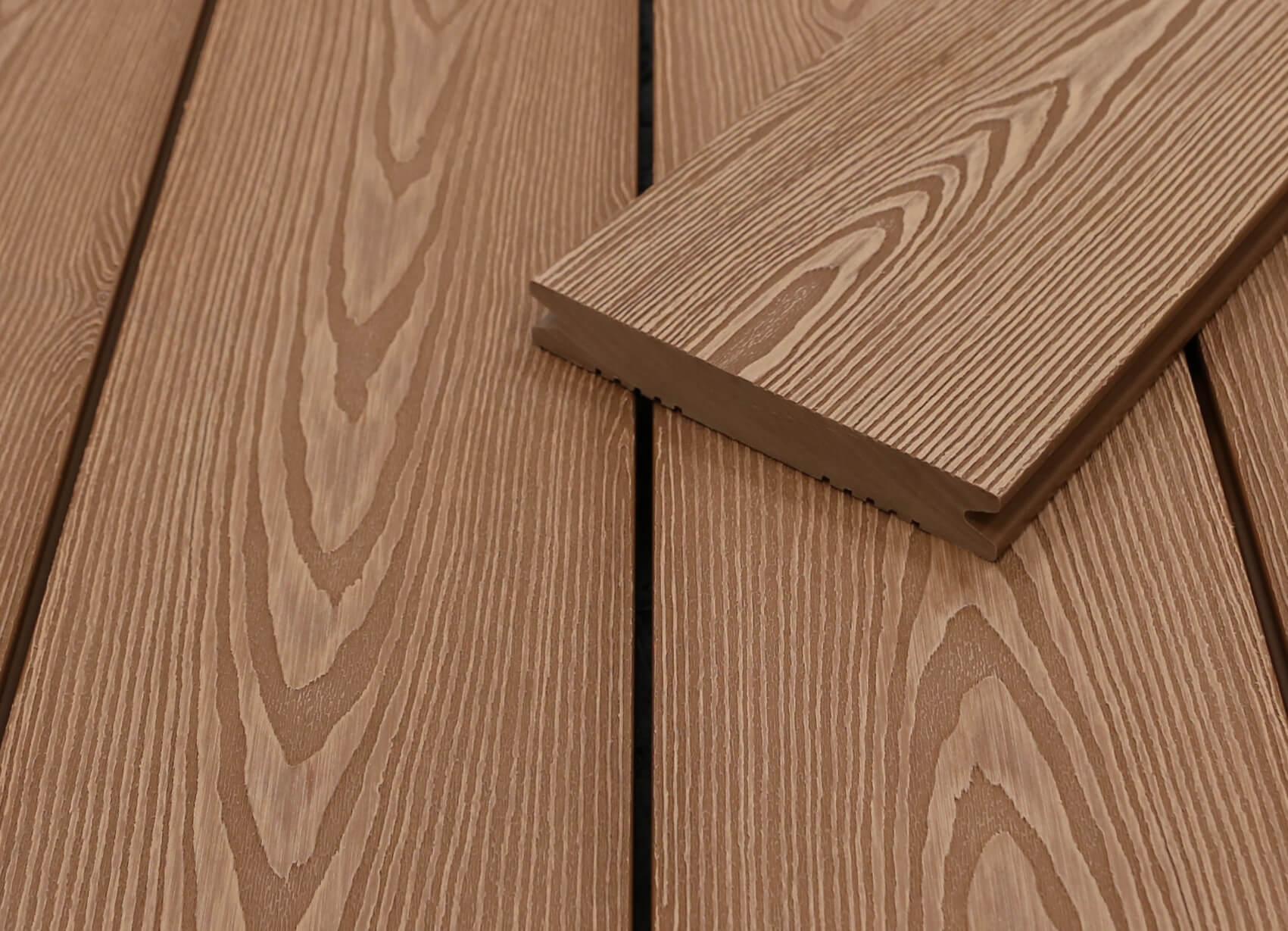 WPC Terrassendielen massiv, hellbraun, 3D Struktur in Holzoptik, 22 x 143 bis 4800 mm, Vollprofil für 9,50 €/lfm