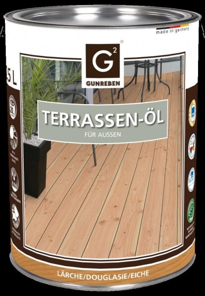 Eiche Öl von Gunreben, 2,5 Liter Terrassendielen Öl ausreichend für ca. 20-25 m²