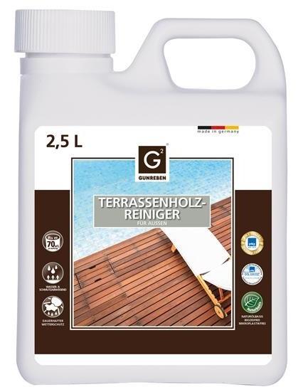 Terrassenholz Reiniger von Gunreben, Kanister mit 2,5 Liter ist ausreichend für ca. 20-80 m²