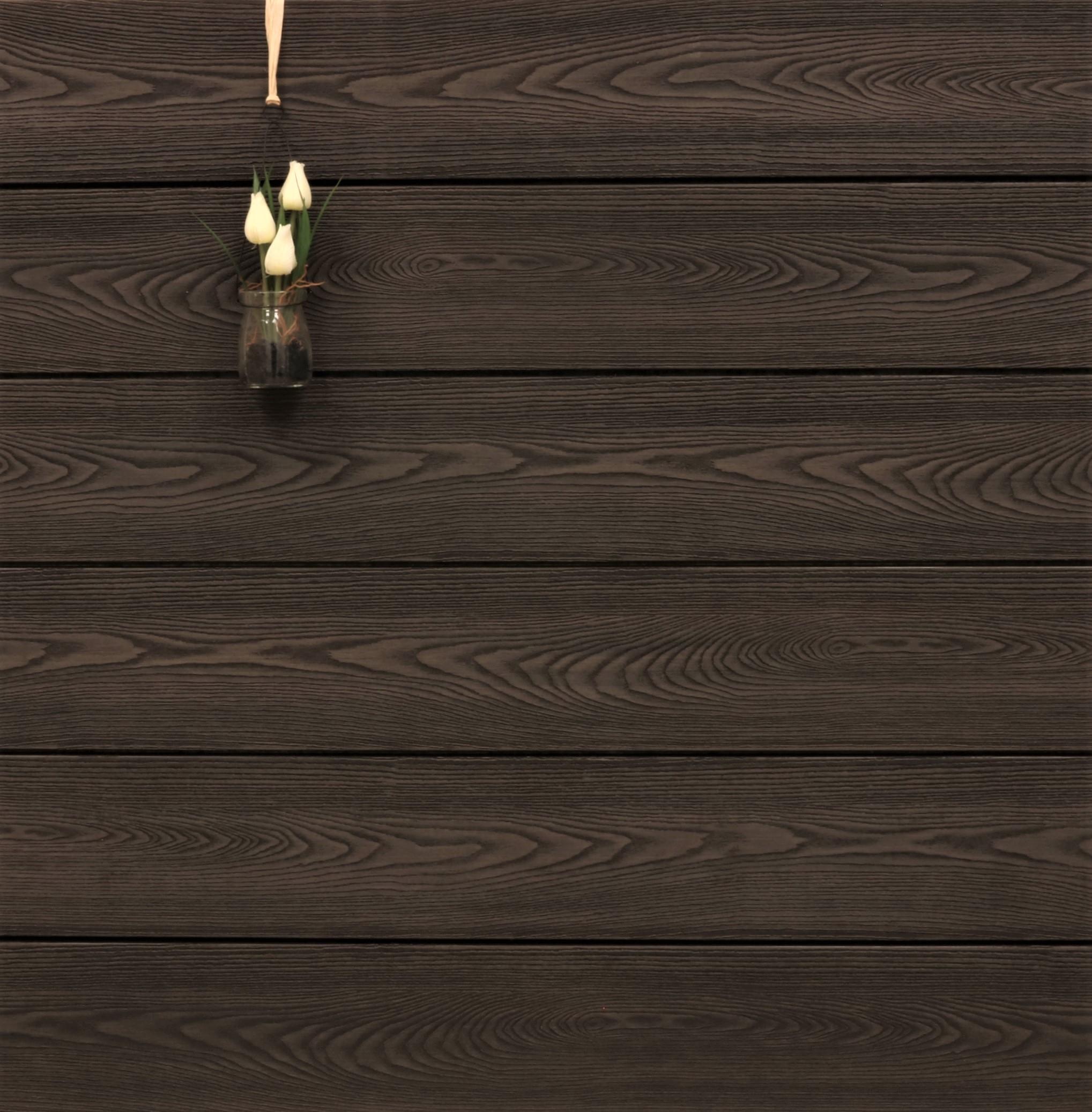 WPC Terrassendielen massiv, bicolor im Farbton Thermoesche, Struktur in Holzoptik, 22 x 143 bis 4800 mm, Vollprofil für 10,90 €/lfm
