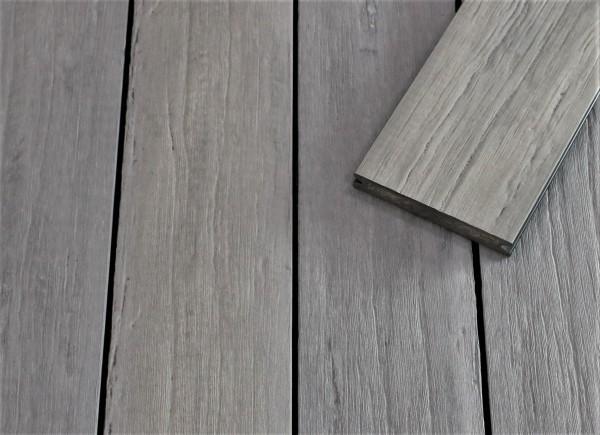 WPC Terrassendielen massiv, steingrau, antik gealtert, 22 x 143 bis 4800 mm, Vollprofil für 9,95 €/lfm